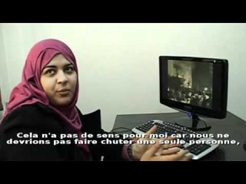 Egyptian Human Rights activist Dalia Ziada reacts after violences in Cairo (December 16-17)