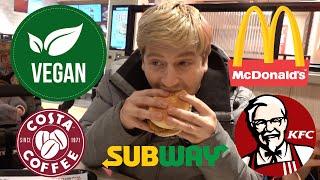 TRYING NEW VEGAN FAST FOOD AT MCDONALDS KFC COSTA AND SUBWAY UK