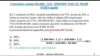 correction examen fiscalité S.O 2018/2019 prof : EL MADI