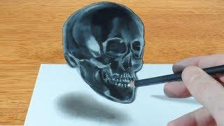 Drawing 3D Crystal Skull - Trick Art on Black Paper
