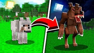How to Turn a Wolf into a Werewolf in Minecraft at 12:00 AM!