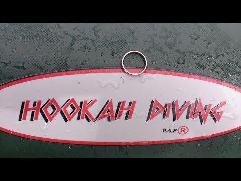 Подводный поиск золота . Система Хука Underwater metal detecting search gold Hookah diving