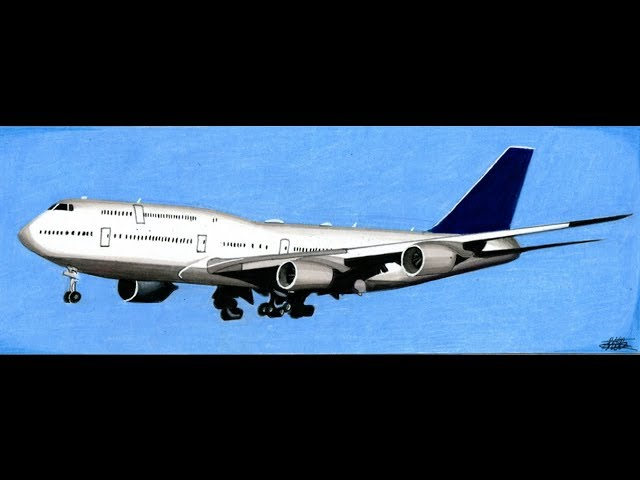 Realistic Airplane Drawing Boeing 747 Time Lapse Youtube