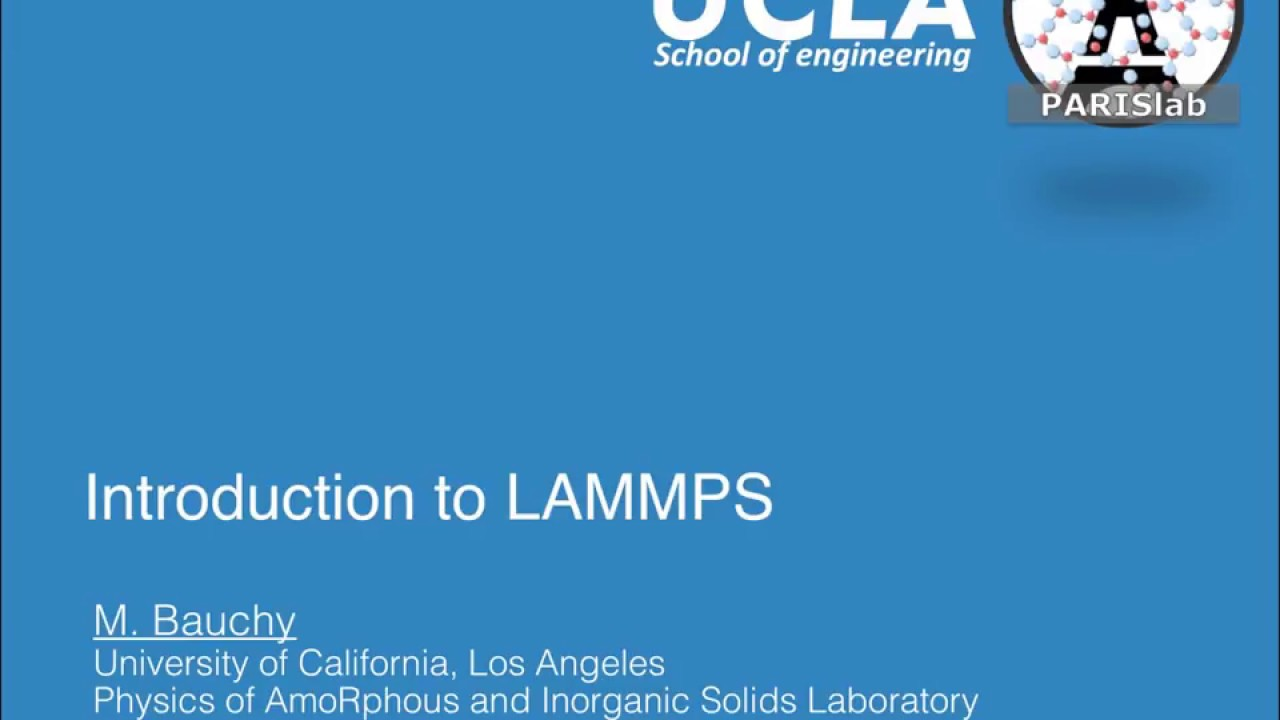 Introduction to LAMMPS - Molecular Dynamics package