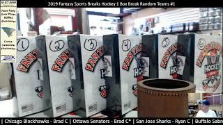 2019 Fantasy Sports Breaks Hockey 1 Box Break Random Teams #1