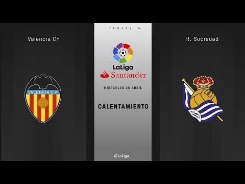Calentamiento Valencia vs Real Sociedad