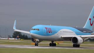 tui thomson airways by2500 g obyg boeing 767 304er takeoff manchester to naples 23 6 17