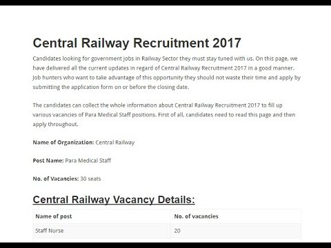 Central Railway Recruitment 2017 18 || Apply now - YouTube on
