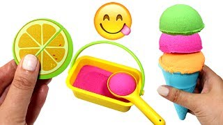 Kinetic Sand Ice Cream Learn Fruit Names with Wooden Toys Learn Colors for Kids Fun Creative Play