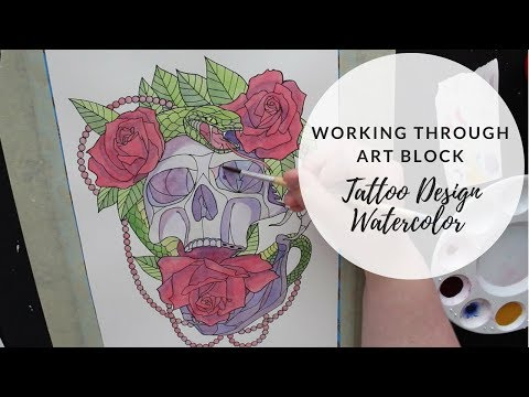 Working Through Artist Block- Skull Tattoo Design Watercolor Speed Paint