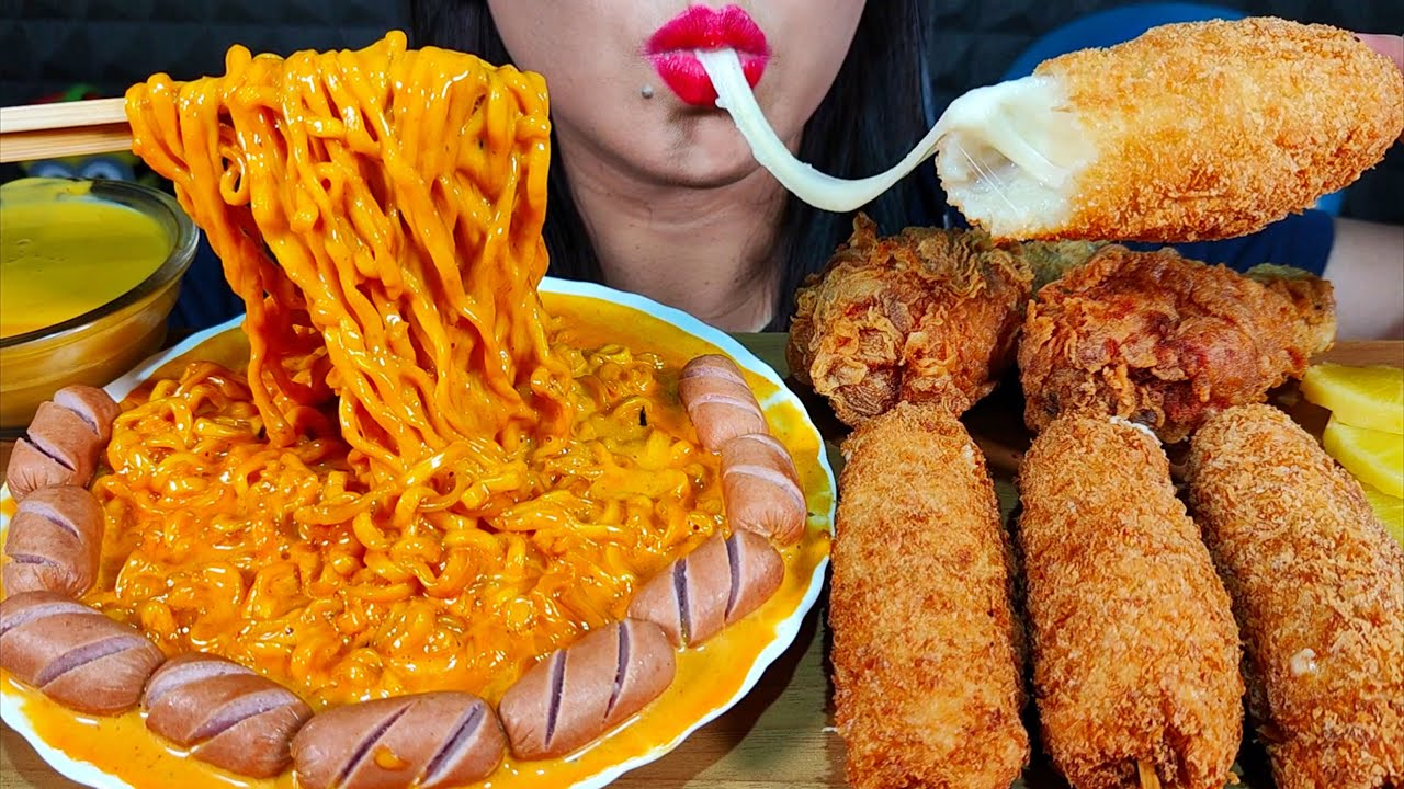 ASMR CHEESY CARBO FIRE NOODLES, FRIED CHICKEN, MOZZARELLA CORN DOG, SAUSAGE MASSIVE Eating Sounds