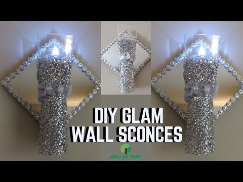 DIY DOLLAR TREE GLAM WALL LIGHT/ SCONCES -HOME DECOR 2019