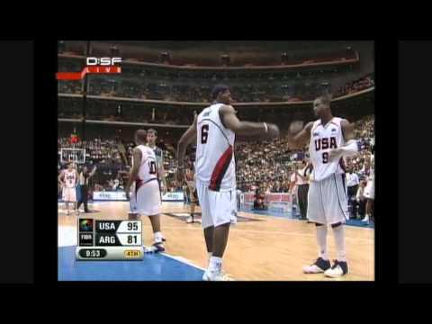 LeBron James incredible Dunk on Argentina and the foul FIBA World Championship 2006 RARE