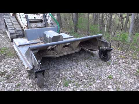 Home built skid steer mower in action home made bush hog Hydraulic motor for brush cutter