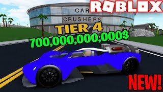 DESTROYING NEW TIER 4 ASTON MARTIN CAR in ROBLOX CAR CRUSHERS 2 (NEW MAP!)