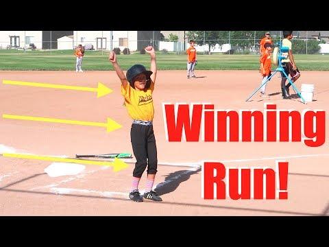 GIRL ON BOYS BASEBALL TEAM SCORES WINNING RUN!