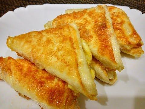 Обалденная ЗАКУСКА - Треугольники из ЛАВАША с Плавленым Сырком/Жареный Лаваш на Сковороде с Сыром