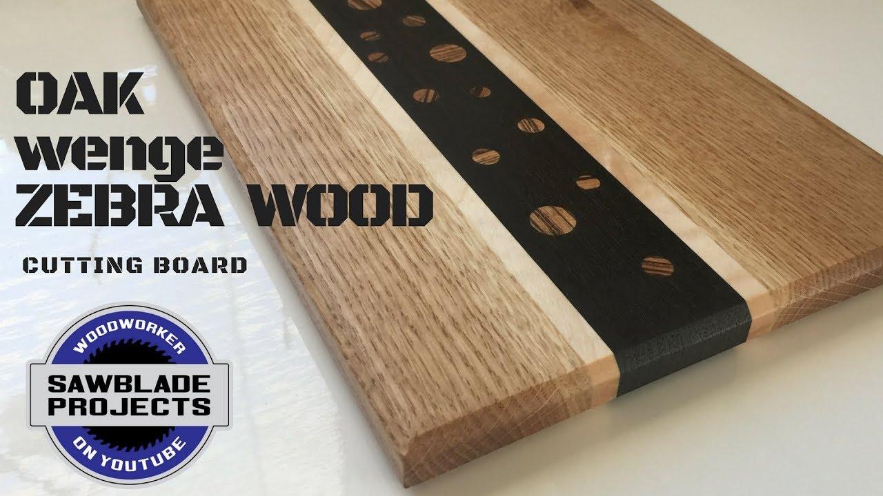 Oak And Wenge Cutting Board With Zebra Wood Inlays Youtube