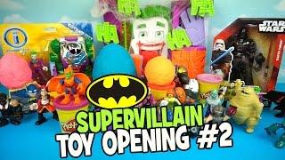 Imaginext Batman Toys Opening with Batman Play-doh Surprise Eggs & DC Supervillains by KidCity