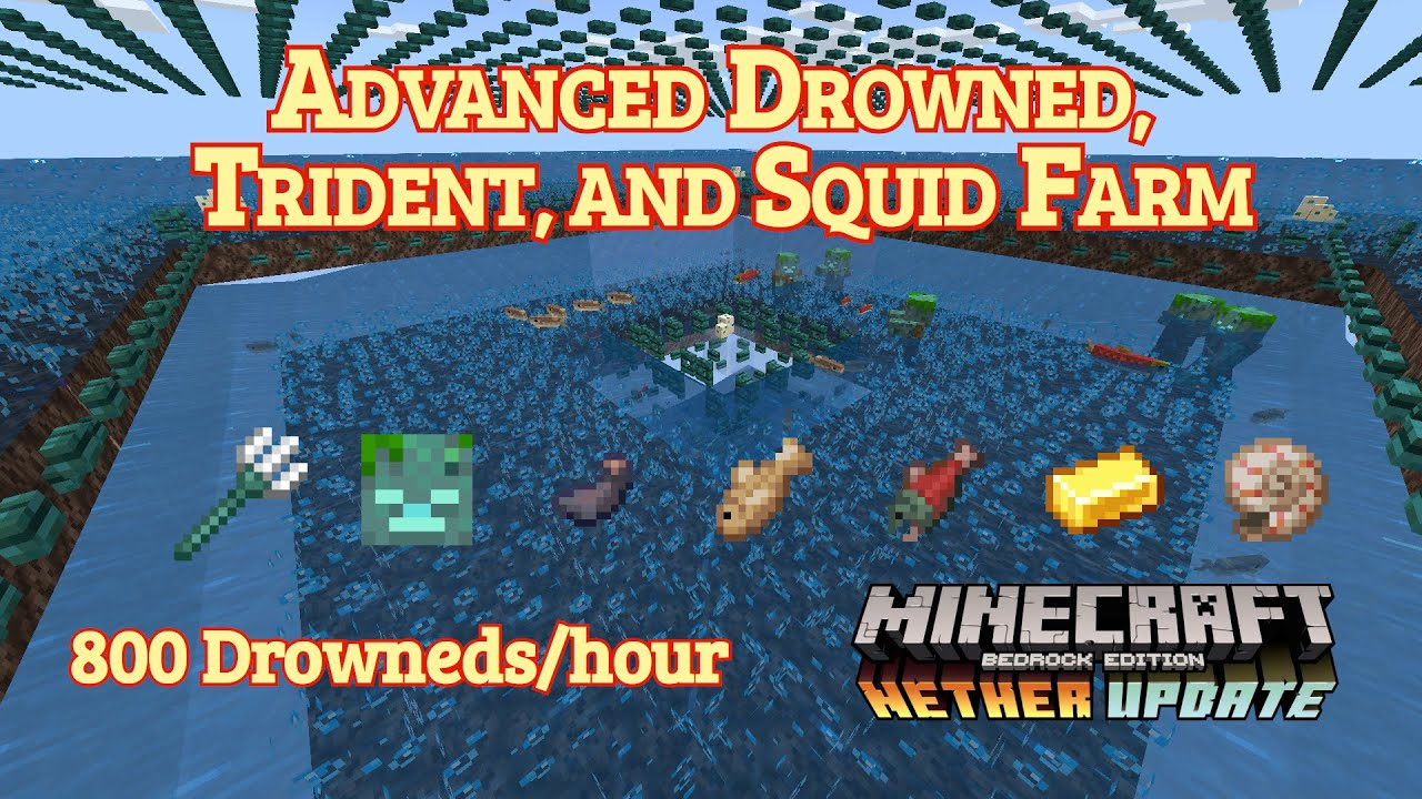 Tutorials Drowned Farming Official Minecraft Wiki