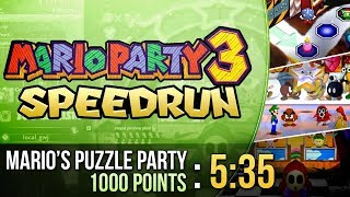 Mario Party 3 Mario's Puzzle Party 1000 Points Speedrun in 5:35