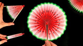DIY Life Hacks with Paper: How to make a cute Watermelon Paper Fan - Hand fan