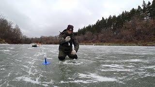 Первый лед на реке. Рыбалка на жерлицы. Зимняя рыбалка 2018