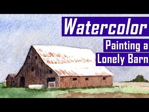 Painting a Lonely Barn / Farm - Watercolor Landscape Painting (Watercolor Corner #5)