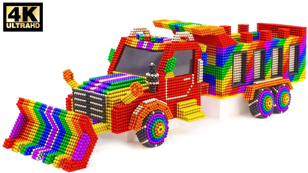 DIY - كيف تصنع شاحنة جرافة جميلة من الكرات المغناطيسية   ASMR Satisfying Video