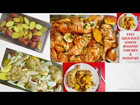 Lemon Garlic Herbs Chicken And Potatoes| One Pan Chicken Roasted Chicken Potatoes Recipe