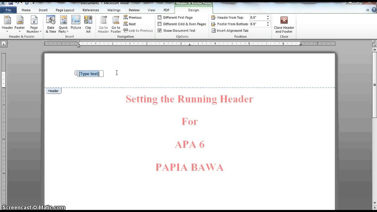 apa 6  inserting the running head