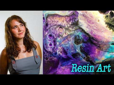 Pearly pigments, deep purple : black cells, real time, voice over, Epoxy resin art, stunning artwork