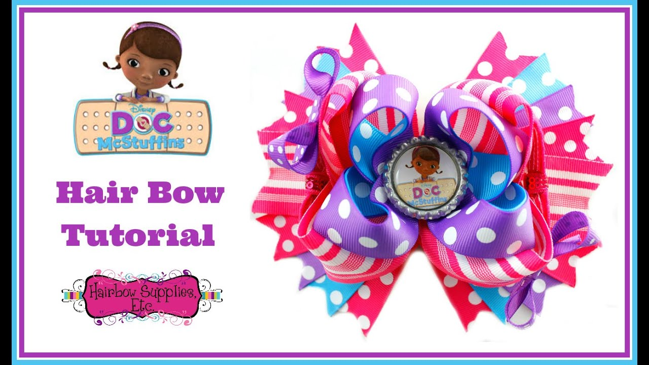 Doc mcstuffins hair bow tutorial hairbow supplies etc youtube baditri Image collections