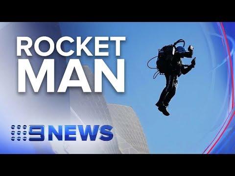 Man flies over Sydney Harbour with jetpack   Nine News Australia