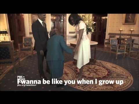 Watch a 106-year-old woman bust a move with the president