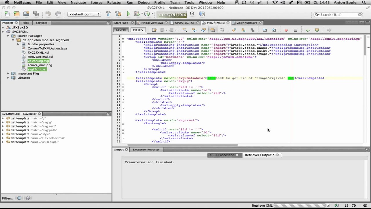 "NetBeans ""XSL Transformation"" Action - YouTube"