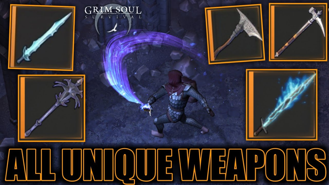 ALL UNIQUE WEAPONS IN GRIM SOUL! GAMEPLAY OF ALL UNIQUE WEAPONS! – Grim Soul: Dark Fantasy Survival