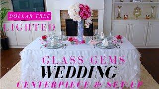 DIY Lighted Glass Gems Centerpiece | Dollar Tree Wedding Centerpiece | DIY Charger Plates
