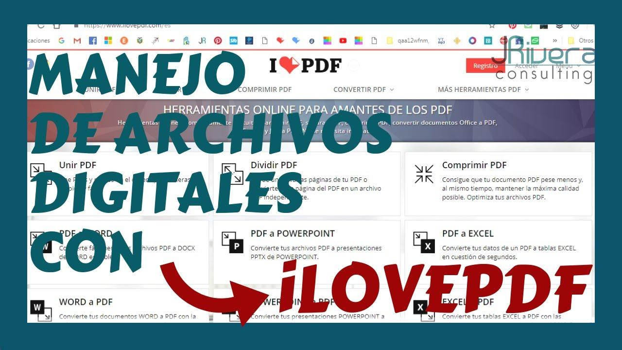 Como Usar Ilovepdf Para Unir Separar Y Comprimir Archivos Digitales Pdf Gratis Youtube