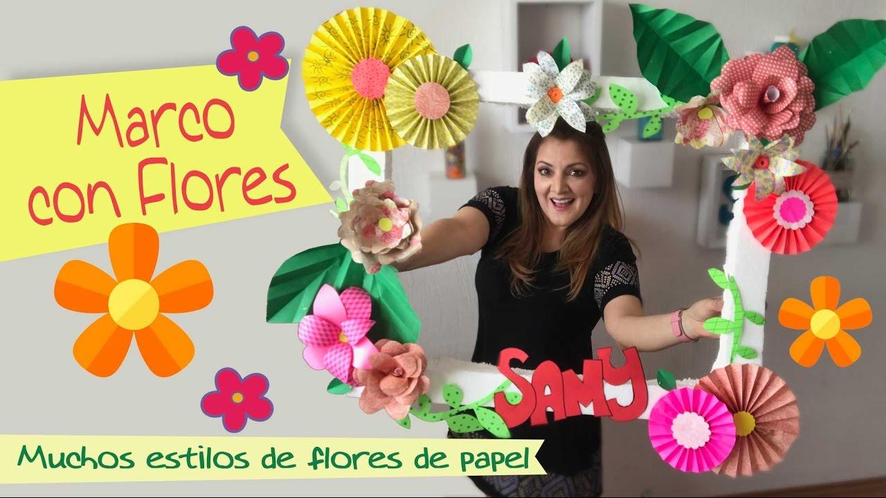 Marco para fotos con flores de papel chuladas creativas - Decoracion de marcos para fotos ...