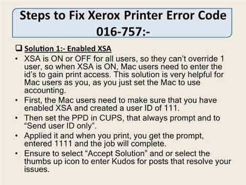 Xerox Printer Error Code 016 757 Youtube