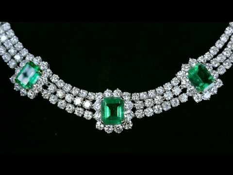 Columbian Emerald Necklace and Earrings from M.S. Rau Antiques
