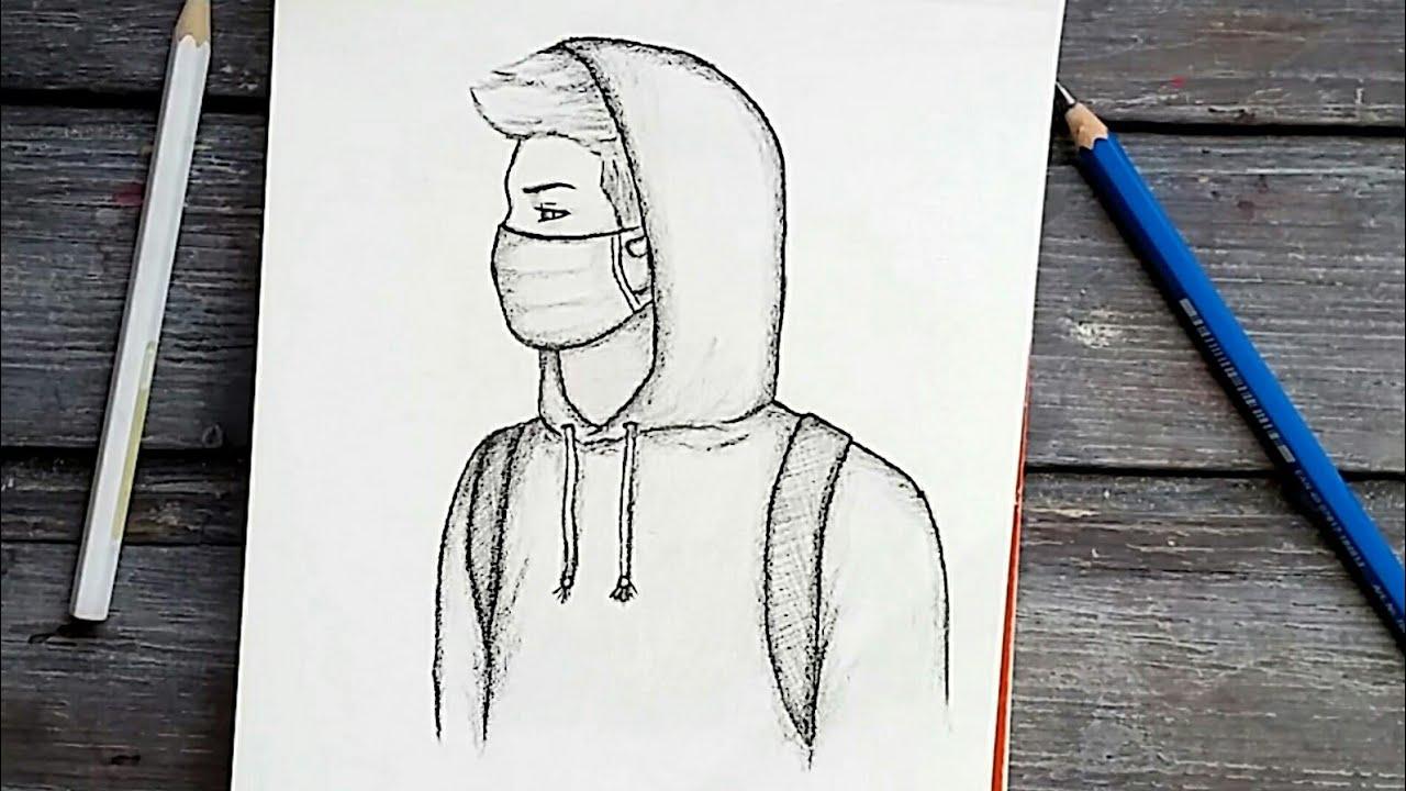رسم سهل تعليم رسم الشعر من الخلف بالرصاص للمبتدئين بطريقة سهلة