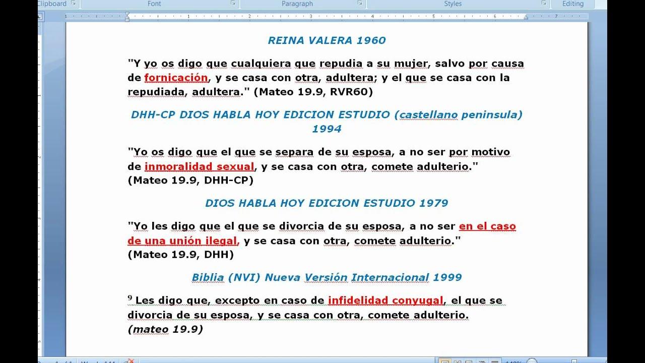Biblia Habla Matrimonio : Permite la biblia el divorcio por adulterio o otras cosas