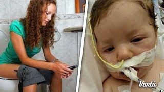 Mató a su bebé por usar el celular en el baño. Comparte para que no se vuelva a repetir