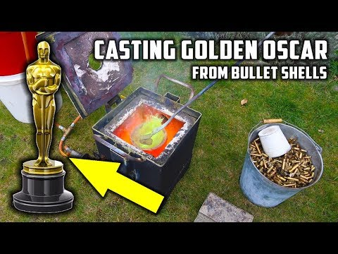 Casting Golden Oscar Award Trophy in Brass from Empty Bullet Shells