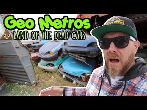 I Found Stacked & Smashed GEO Metro's At Salvage Yard | 1000's Of Jalopy's | Junk Yard Vlog 2019