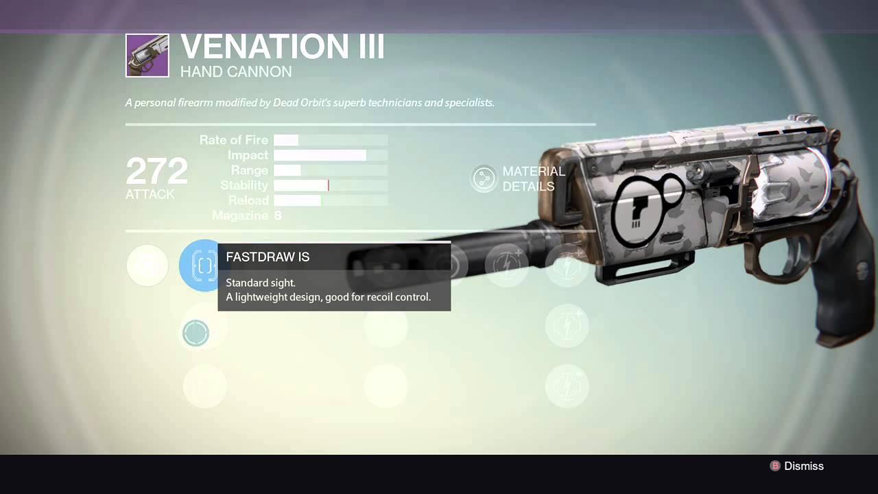 Destiny vanguard hand cannon destiny legendary hand cannon venatation