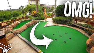 I HAVE NEVER SEEN A MINI GOLF HOLE LIKE THIS! CRAZY HOLE IN ONE RISK!