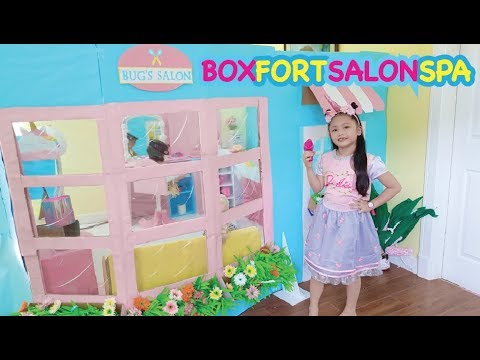 Bug's Unicorn Salon ! Boxfort Barbie Beauty Spa | Elsa and Rapunzel Makeover